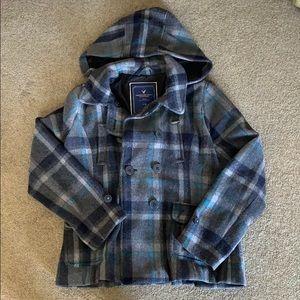 AE plaid pea coat with hood